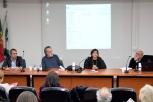 """Painel """"Estruturas Narrativas e as suas formas de comunicação"""", com Vasco Ribeiro, João Paulo Queiroz, Margarida Medeiros (moderadora) e Paulo Baptista"""