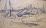 """Adriano de Sousa Lopes Um abrigo """"boche"""" no Bois de Biez, (c. 1918) Carvão sobre papel, 23,5 x 40 cm Museu Militar de Lisboa"""