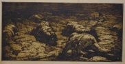 Adriano de Sousa Lopes Patrulha de reconhecimento na Terra de Ninguém, 1919 Água-forte sobre papel, 30,7 x 63 cm Col. particular, Lisboa