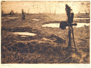 Portugal na Grande Guerra; Uma sepultura portuguesa na terra de ninguém, c. 1918. Adriano Sousa Lopes