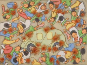 I Dewa Putu Mokoh. Bom Bali, 2006. Chinese ink and acrylic on canvas, 63 by 82 cm. Charles Darwin University Art Collection, Darwin, Australia.